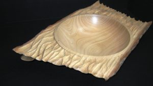 Ash wood bowl wavy ledge with handle