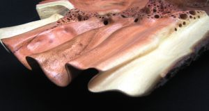 Carob wood bowl wave and sea foam detail