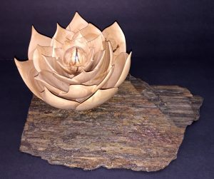 Agave flower- turned and carved from one piece of Ash wood.