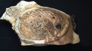Olive wood bowl -seafoam